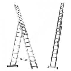 Лестница раскладная трехсекционная 3x14, рабочая высота - 9м
