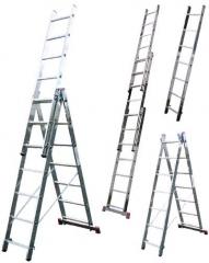 Лестница раскладная трехсекционная 3x9, рабочая высота - 5 м